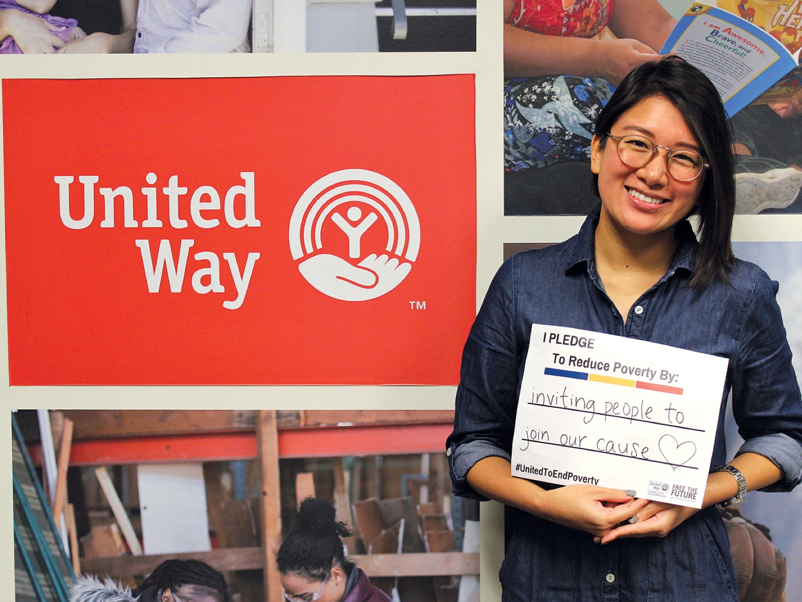 "Betty Chan holding her pledge which reads ""I pledge to reduce poverty by inviting people to join our cause❤️"""