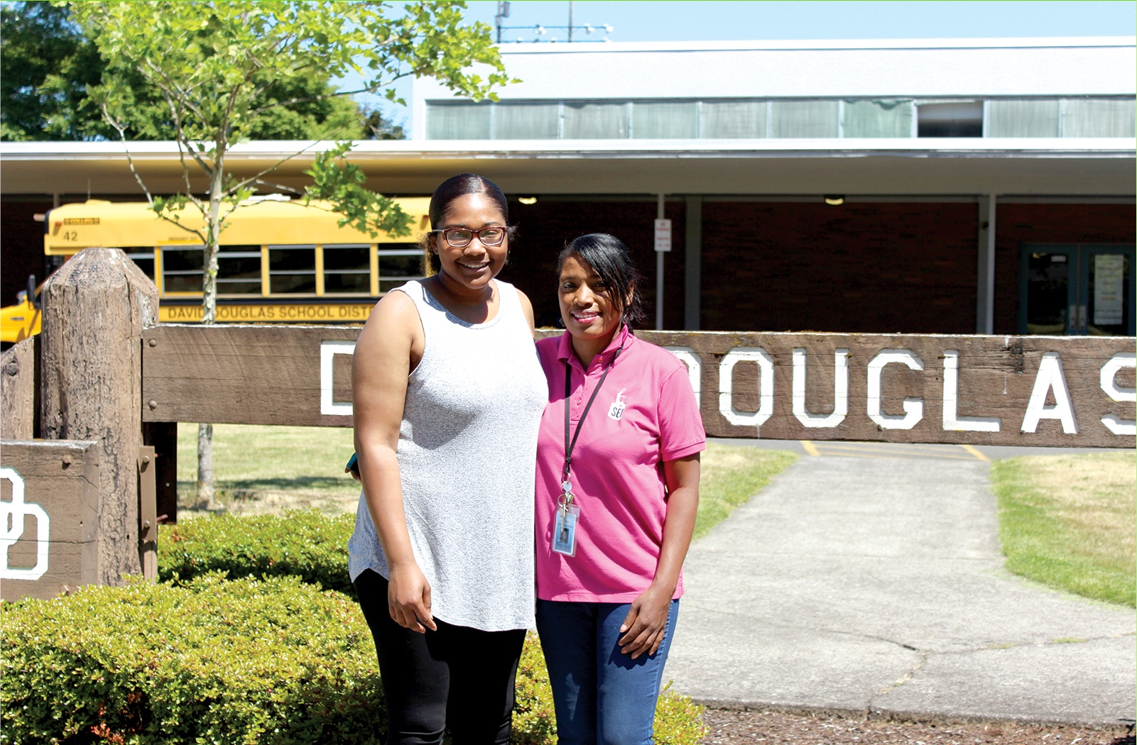 MyLin and Miki in front of David Douglas school